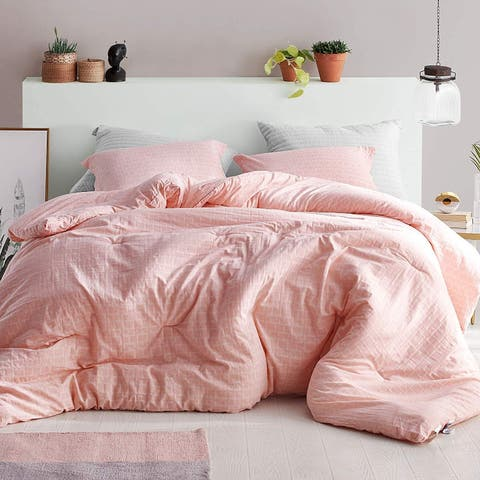 Highlands Coral Pink - Oversized Comforter - 100% Yarn Dyed Cotton Bedding