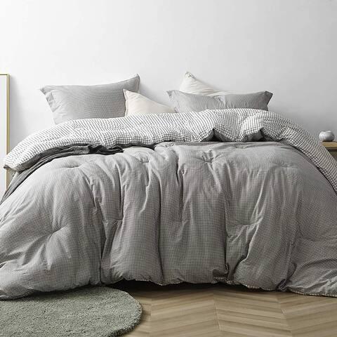 Gingham Gray - Oversized Comforter - 100% Cotton Bedding