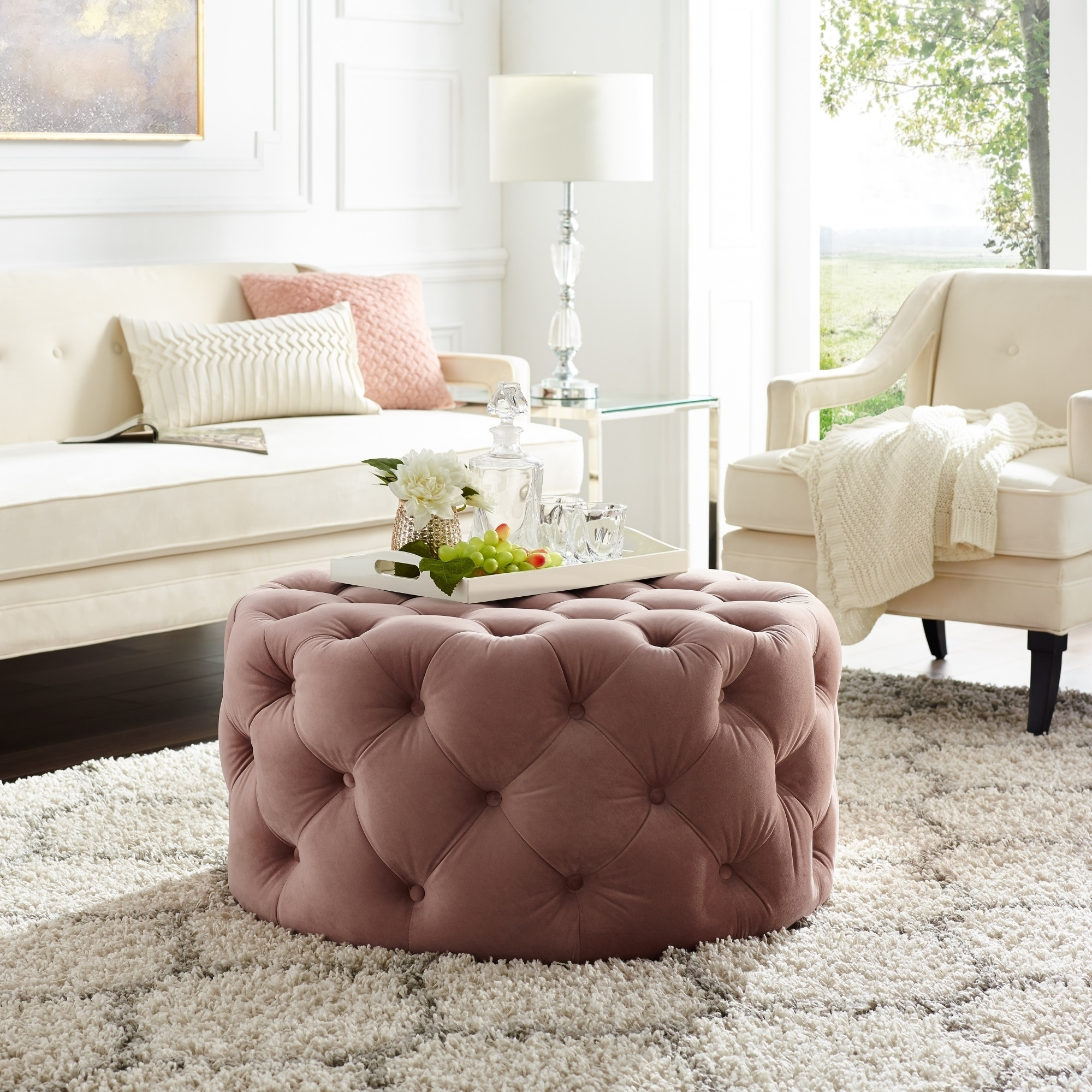Cool Silver Orchid Holm Round Cocktail Ottoman Short Links Chair Design For Home Short Linksinfo