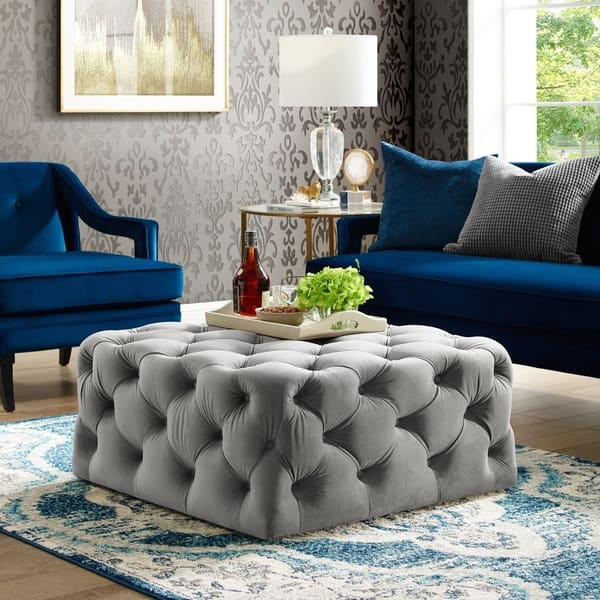 Amazing Shop Silver Orchid Holm Square Cocktail Ottoman On Sale Short Links Chair Design For Home Short Linksinfo