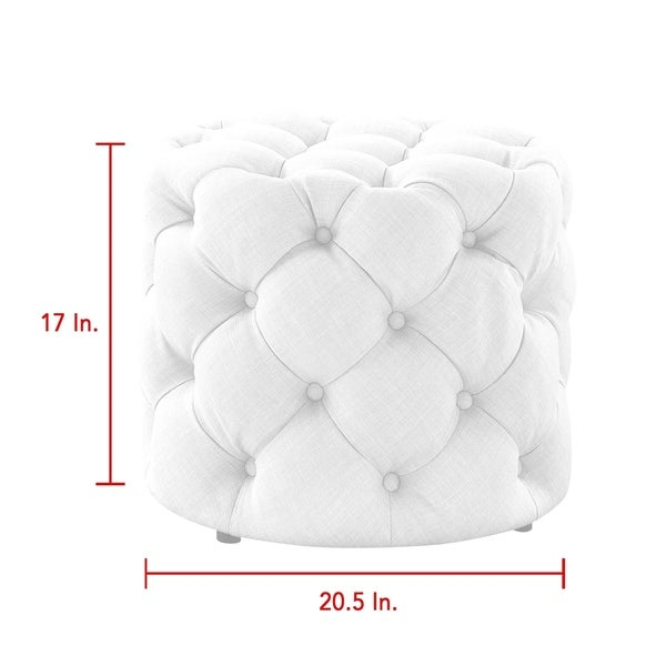 Silver Orchid Holm Velvet or Linen Round Tufted Ottoman