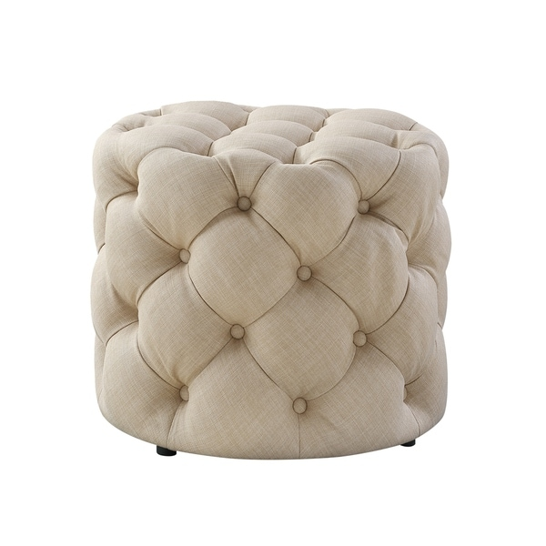 1 PC Velvet or Linen Tufted Ottoman Bench Foot Stool Fabric Bedroom Round