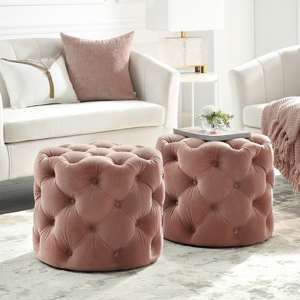Silver Orchid Holm Velvet or Linen Round Tufted Ottoman. Opens flyout.