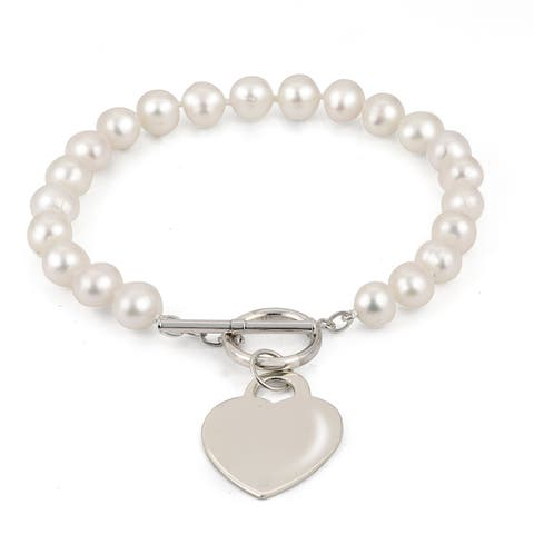 PearLustre by Imperial Sterling Silver White Freshwater Pearl with Heart Charm Bracelet