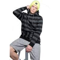 Mens Stripe Pullover Hooded Sweatshirt