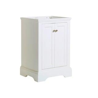 "Fresca Windsor 24"" Matte White Traditional Bathroom Cabinet"