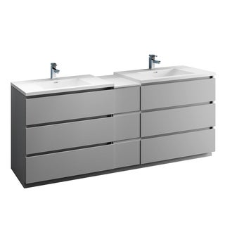 "Fresca Lazzaro 84"" Gray Free Standing Double Sink Modern Bathroom Cabinet w/ Integrated Sinks"