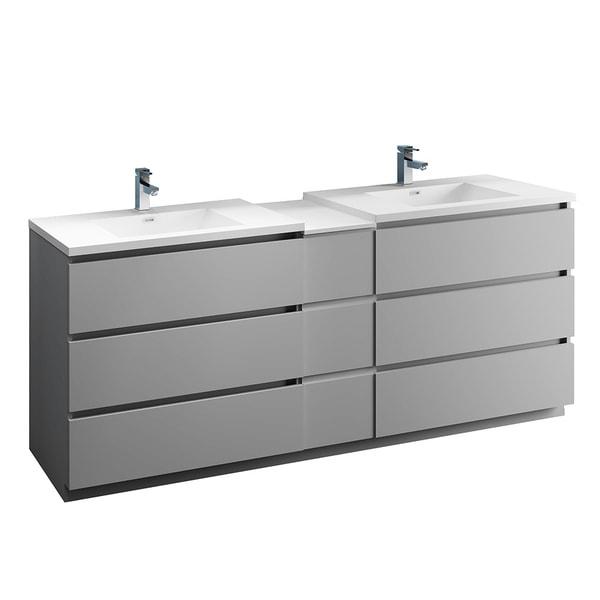 "Fresca Lazzaro 84"" Gray Free Standing Double Sink Modern Bathroom Cabinet w/ Integrated Sinks"