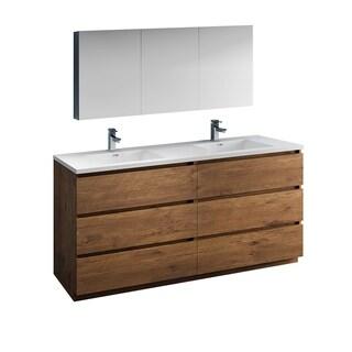 "Fresca Lazzaro 72"" Rosewood Free Standing Double Sink Modern Bathroom Vanity w/ Medicine Cabinet"