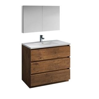 "Fresca Lazzaro 42"" Rosewood Free Standing Modern Bathroom Vanity w/ Medicine Cabinet"