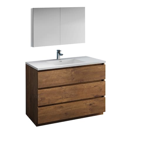 "Fresca Lazzaro 48"" Rosewood Free Standing Modern Bathroom Vanity w/ Medicine Cabinet"