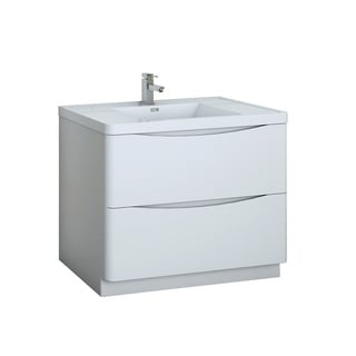 """Fresca Tuscany 40"""" Glossy White Free Standing Modern Bathroom Cabinet w/ Integrated Sink"""