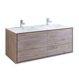 """Fresca Catania 60"""" Rustic Natural Wood Wall Hung Modern Bathroom Cabinet w/ Integrated Double Sink"""