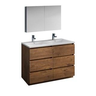 "Fresca Lazzaro 48"" Rosewood Free Standing Double Sink Modern Bathroom Vanity w/ Medicine Cabinet"
