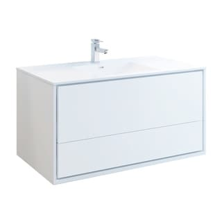 "Fresca Catania 48"" Glossy White Wall Hung Modern Bathroom Cabinet w/ Integrated Sink"