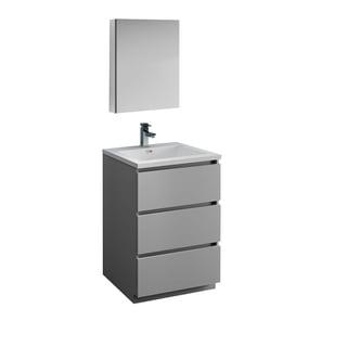 "Fresca Lazzaro 24"" Gray Free Standing Modern Bathroom Vanity w/ Medicine Cabinet"
