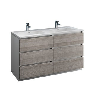 "Fresca Lazzaro 60"" Rosewood Free Standing Modern Bathroom Cabinet w/ Integrated Double Sink"