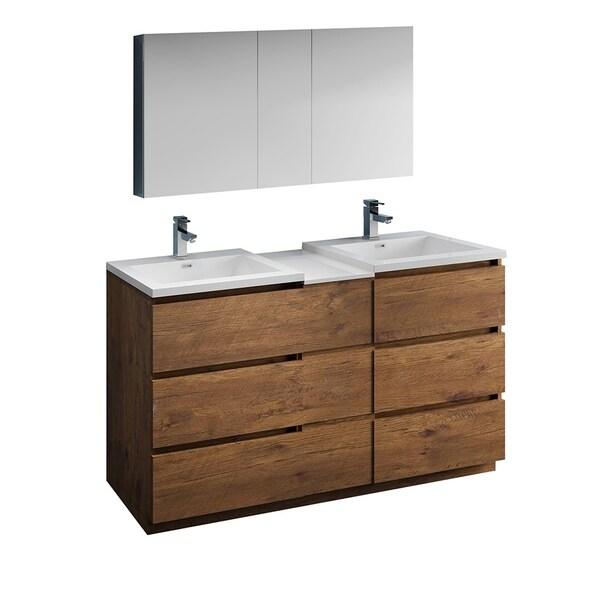 "Fresca Lazzaro 60"" Rosewood Free Standing Double Sink Modern Bathroom Vanity w/ Medicine Cabinet"