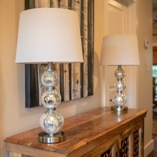 Set of 2 Tri-Tiered Glass Table Lamps