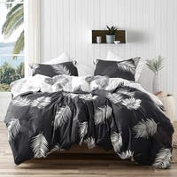 Palms - Faded Black and White - Oversized Duvet Cover - 100% Cotton Bedding
