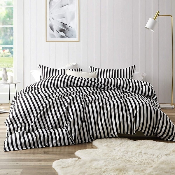 0142f9e2a9 Shop Onyx Black and White Striped - Oversized Duvet Cover - 100% Cotton  Bedding - Free Shipping Today - Overstock - 27070403