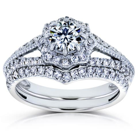 Annello by Kobelli 14k Gold 1ct TGW Star Halo Moissanite and Diamond Split Shank Vintage Fashion Bridal Rings Set