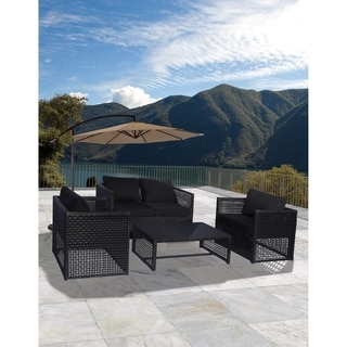 Siesta 4-PC Wicker All Weather Conversation Patio Sofa Set with Cushions