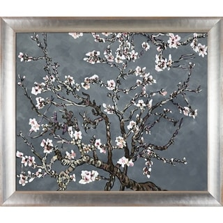 La Pastiche Original 'Branches of an Almond Tree in Blossom, Pearl Grey' Hand Painted Oil Reproduction