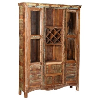 Aiden Collection - Glass Shutter Bookcase With Wine Rack