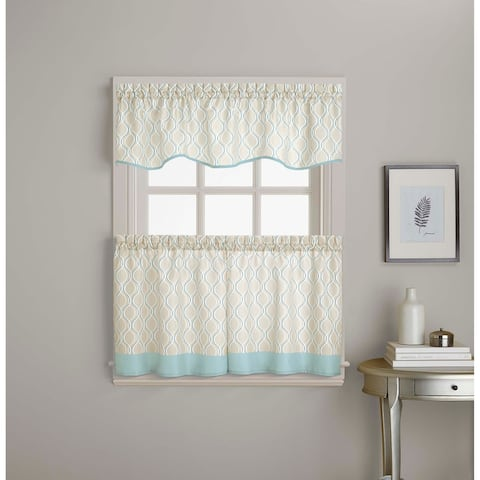 Morocco Ogee Print Valance and Tier Pair Curtain Collection