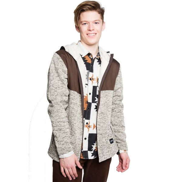 Shop Mens Sherpa Lined Hooded Sweater Jacket - Free ...