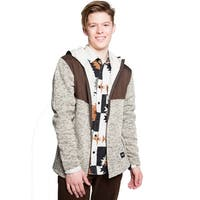Mens Sherpa Lined Hooded Sweater Jacket
