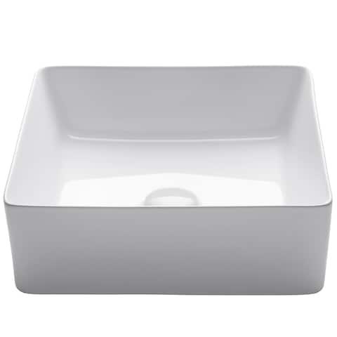 KRAUS 15.8-inch Viva Square White Ceramic Vessel Bathroom Sink