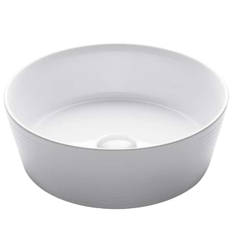 KRAUS 15.75-inch Viva Round White Ceramic Vessel Bathroom Sink