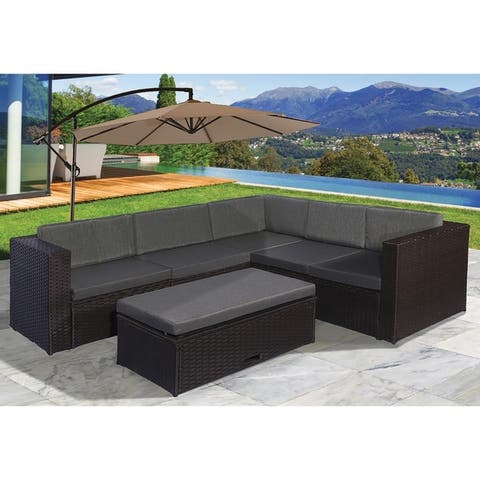 Havenside Home Boothbay 6-piece Resin Wicker Sectional Sofa Set with Grey Cushions