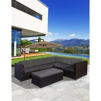 """Newport 6 Piece Resin Wicker All-Weather Modern Sectional""""L""""shaped Sofa Set with Gray Cushions & Multi-Functional Ottoman"""