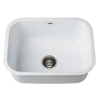 KRAUS KEU12White 23 in. Undermount Stainless Steel Kitchen Sink
