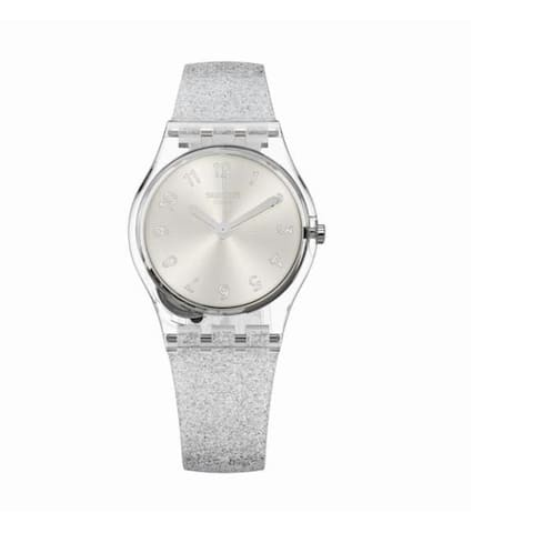 Swatch Silver Glistar Too Silicone Ladies Watch LK343E