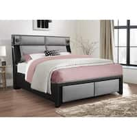 Global Furniture Black and Grey Queen Bed with Stereo-Light