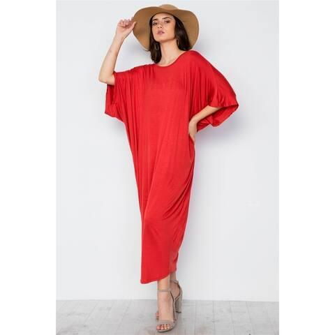 JED Women's Batwing Sleeve Drapey Resort Maxi Dress