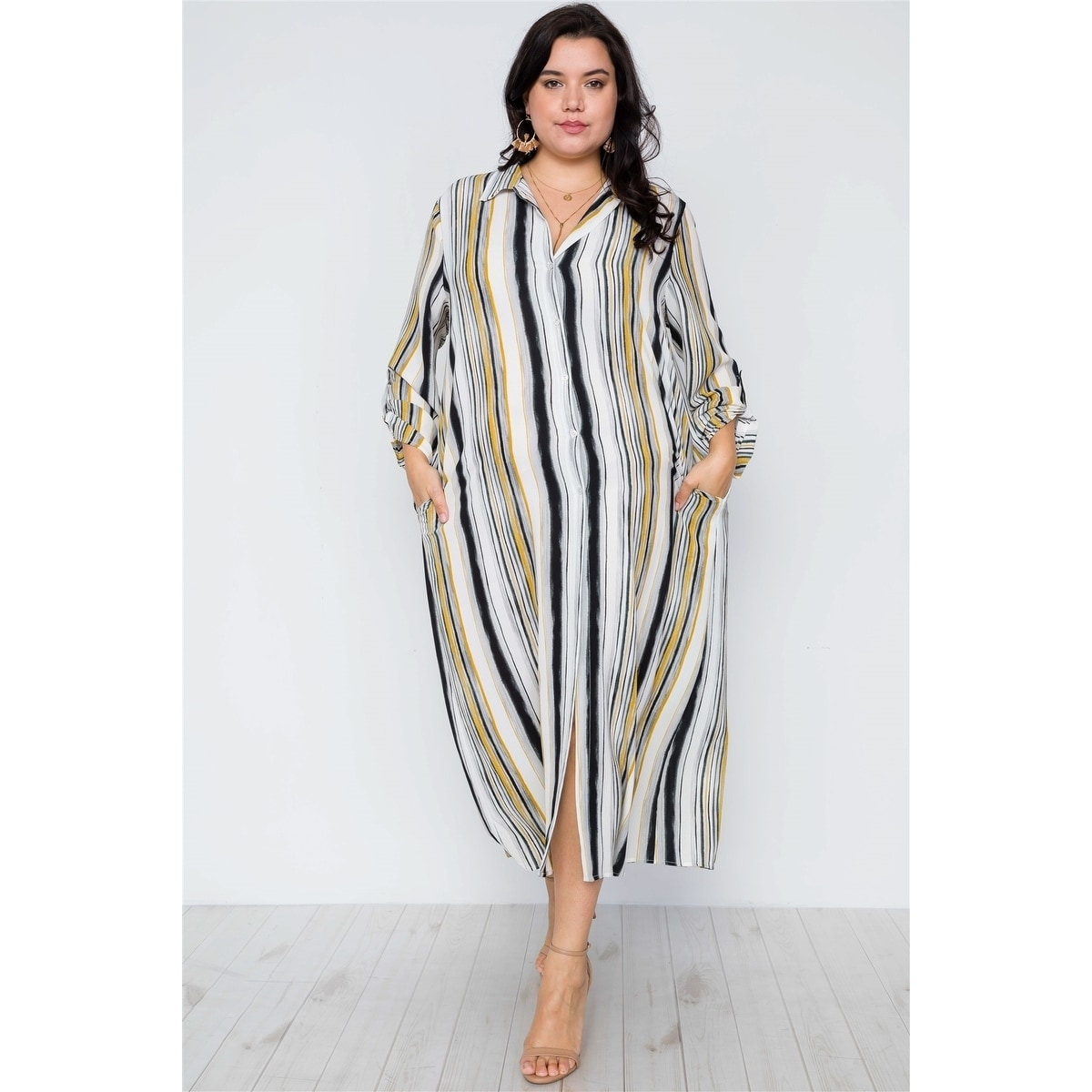 4574b8bdc849 Shop JED Women's Plus Size Stripes Long Sleeve Button Down Maxi Dress Top -  On Sale - Free Shipping On Orders Over $45 - Overstock - 27076221