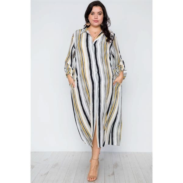 0d637a724a22 JED Women's Plus Size Stripes Long Sleeve Button Down Maxi Dress Top