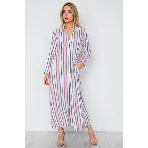JED Women's Long Sleeve Stripes Maxi Tunic Button Down Shirt