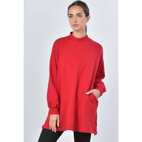 JED Women's Mock Neck Long Sleeve Cotton Tunic Sweatshirt Top