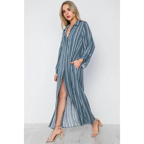 JED Women's Stripes Maxi Button Down Shirt Tunic Top