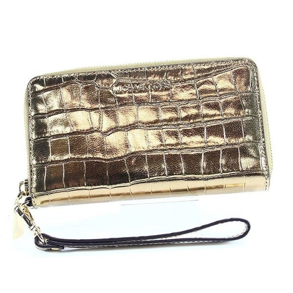 86fe3ce8cd93 Shop MICHAEL KORS Large Flat Phone Case Wristlet - Gold - 32F7MFDE4K-710 - Free  Shipping Today - Overstock - 27076963