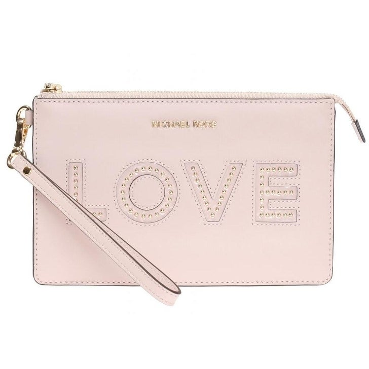 Michael Kors Gusset Soft Pink Leather Love Wristlet Clutch Bag