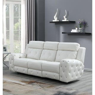 Global Furniture Usa White Power Recline Sofa