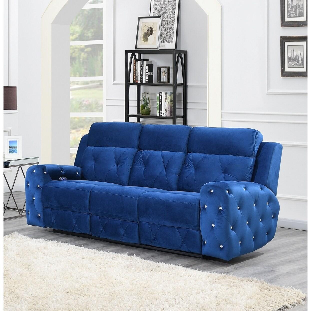 Global Furniture Usa Blue Power Recline Sofa