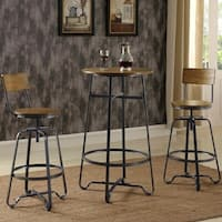 Wood and Metal Design 3-piece Pub Set with Adjustable Bar Stools